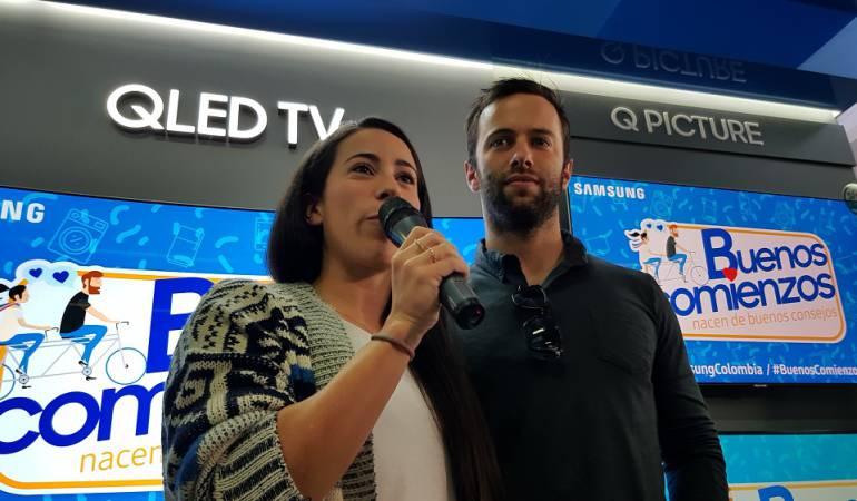 Mariana Pajón y su pareja Vincent Pelluard.
