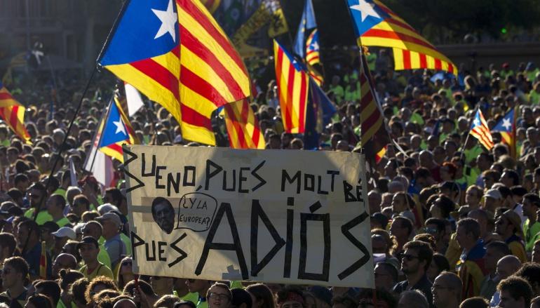 Vista de la plaza de Catalunya de Barcelona durante la tradicional manifestación de los separatistas.