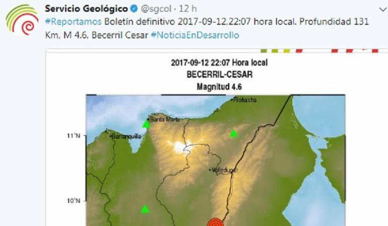 Tres temblores de tierra: Tres temblores de tierra asustan a los vallenatos
