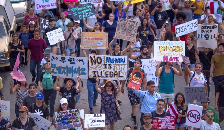 Marcha en contra de la finalización de DACA, Los Ángeles, Estados Unidos.