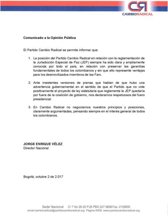 Jep y diferencias entre gobierno y Cambio radical: Cambio Radical asegura que no negocia su postura frente a la JEP