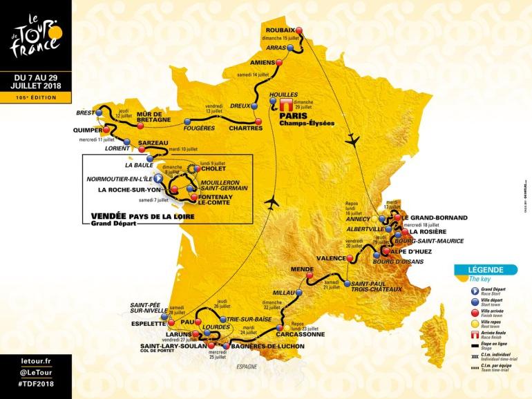 Tour de Francia 2018: Este será el recorrido del Tour de Francia en el 2018