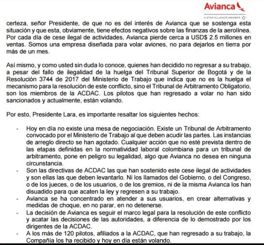 Huelga pilotos Avianca: Cruce de Cartas de las directivas de Avianca al presidente de la Cámara de Representantes