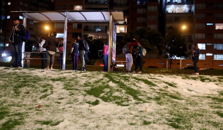 Fuerte granizada en Bogotá