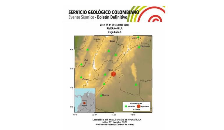 Temblor: Sismo de 4.6 grados en Rivera, Huila, se siente en Bogotá