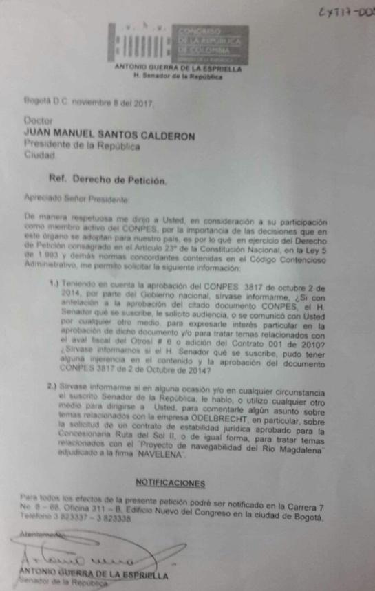 "Caso Odebrecht: ""Senador Guerra no intervino en Conpes sobre obras"": Santos"