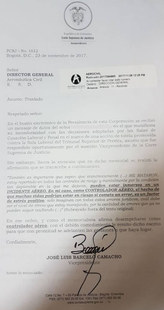 Carta que alerta sobre mal estado de controlador aereo: Carta de la Corte alertó a la Aerocivil sobre estado de salud de controlador aéreo