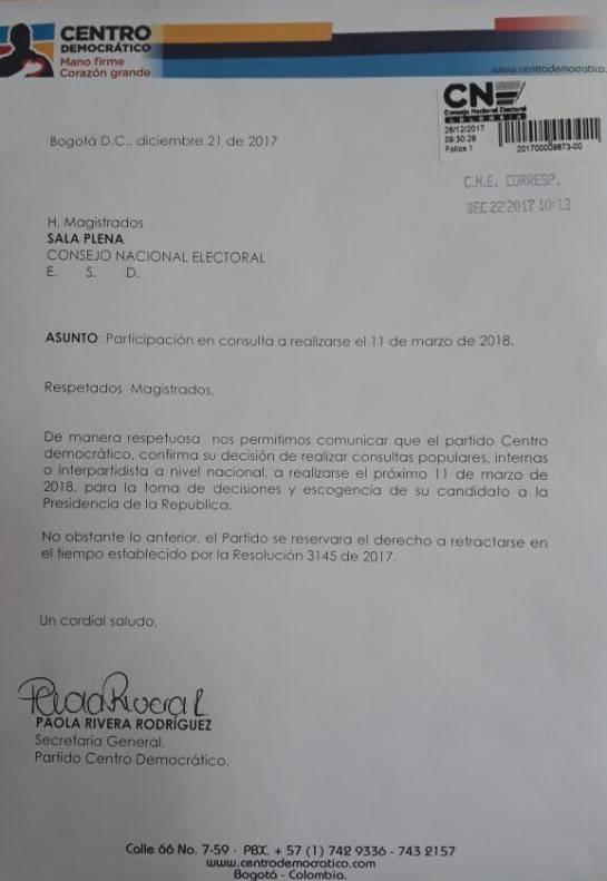 """Elecciones presidenciales 2018: """"Ya se radicó la carta del uribismo para hacer consulta en marzo"""": Lafaurie"""