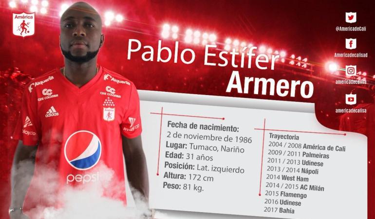 Pablo Armero regresa al América de Cali — Oficial