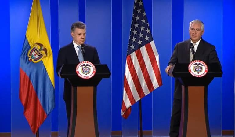 Rex Tillerson, secretario de estado de Estados Unidos: EE.UU. seguirá ayudando a Colombia en lucha contra narcotráfico