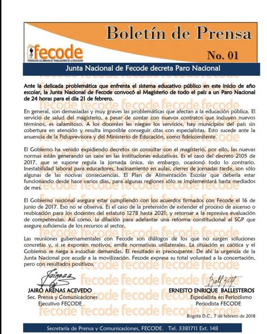 Paro de maestros: Fecode ratifica llamado a un nuevo paro de maestros