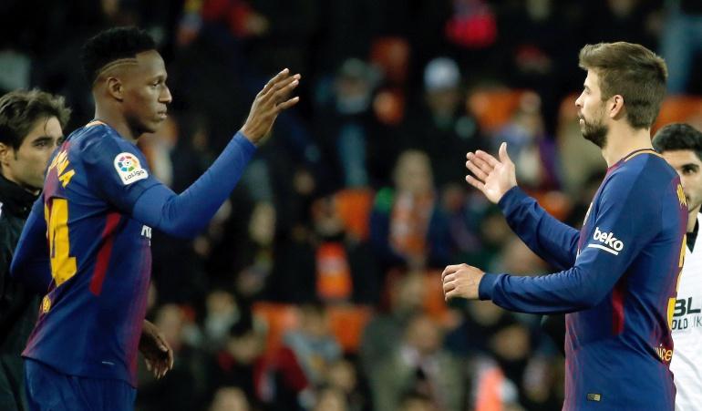 Piqué Mina Barcelona: Piqué le deseó buena suerte a Mina en su debut como titular con Barcelona