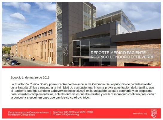 Rodrigo Londoño permanecerá hospitalizado en la clínica Shaio de Bogotá