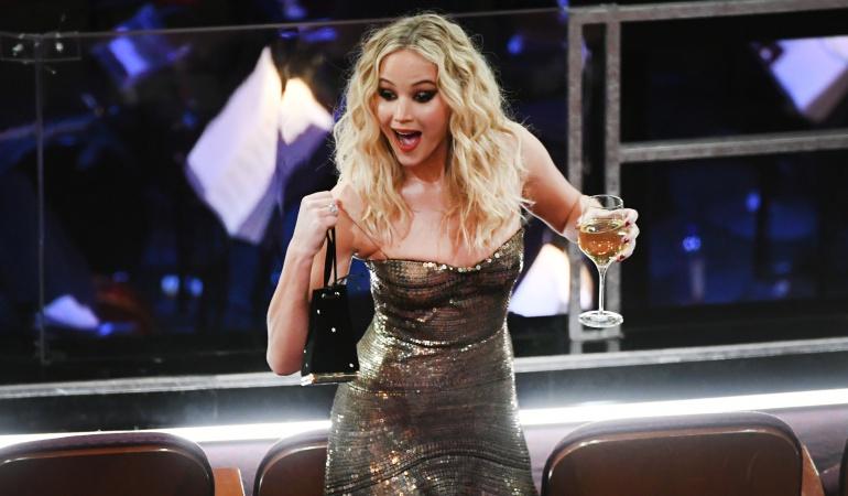 Jennifer Lawrence en la la gala número 90 de los Premios de La Academía.