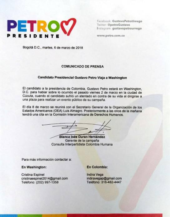 Santos dice candidato Petro busca publicidad en EEUU con denuncia de atentado