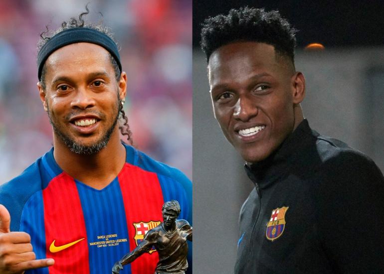 Ronaldinho y Yerry Mina