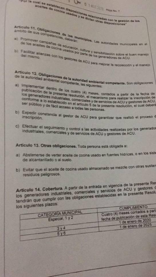 Manejo Aceite de cocina: Lista resolución para manejo de aceites usados de cocina