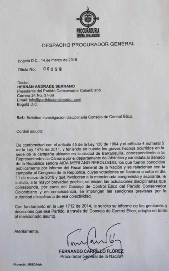 """Elecciones Colombia 2018: """"No podemos permitir que Aida Merlano llegue al Senado"""": procurador"""