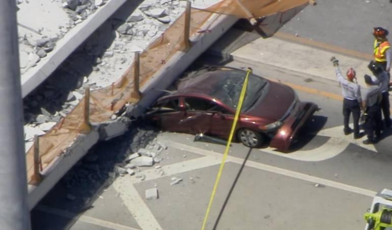 Caída de puente peatonal en Miami
