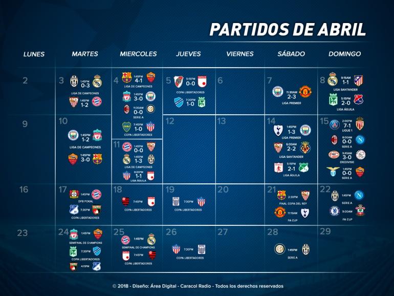 Partidos más destacados abril: Prográmese con los partidos más destacados de abril