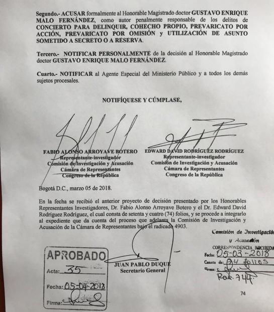 Cartel de la toga: Son pocos los días de Gustavo Malo en la Corte: Comisión de Acusación