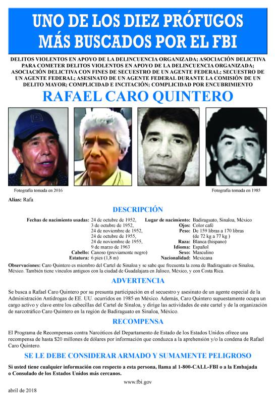 Cartel de Sinaloa: Rafael Caro Quintero, entre los 10 más buscados por el FBI