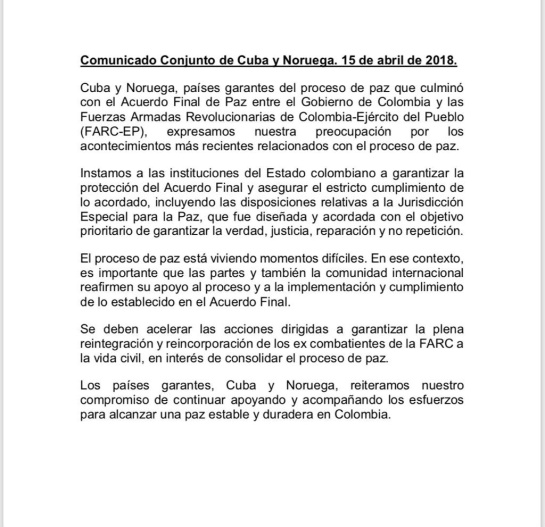 Países garantes Acuerdo de paz: Cuba y Noruega piden al Gobierno garantizar cumplimiento del acuerdo de paz