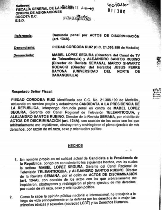 Denuncia de Organizadores de Debates: Piedad Córdoba denunció a organizadores de debates