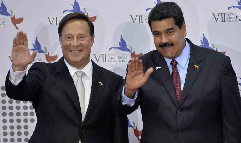 Presidente de Panamá Juan Carlos Varela y Venezuela Nicolás Maduro