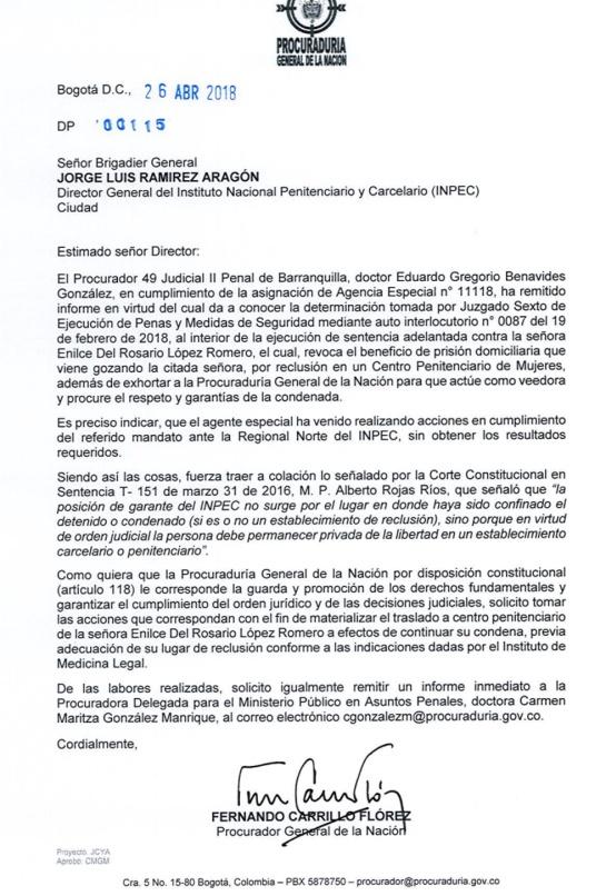 La Gata: La carta del Procurador al Inpec para que trasladen a Enilce López