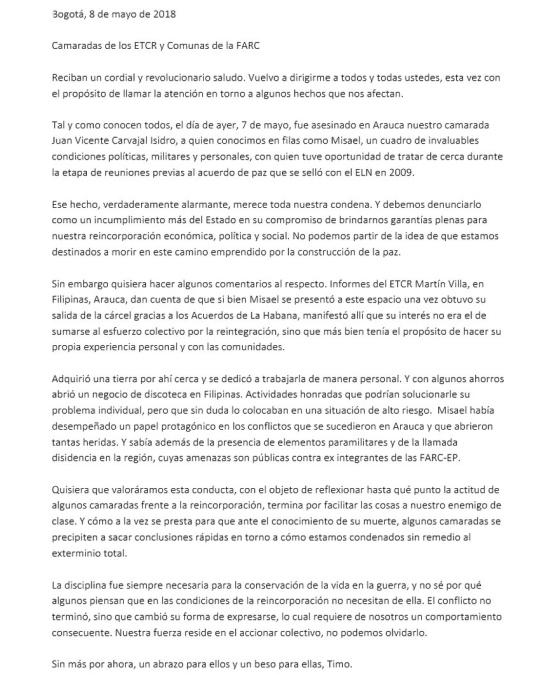 Partido Farc: Timochenko pide disciplina a los excombatientes de la Farc