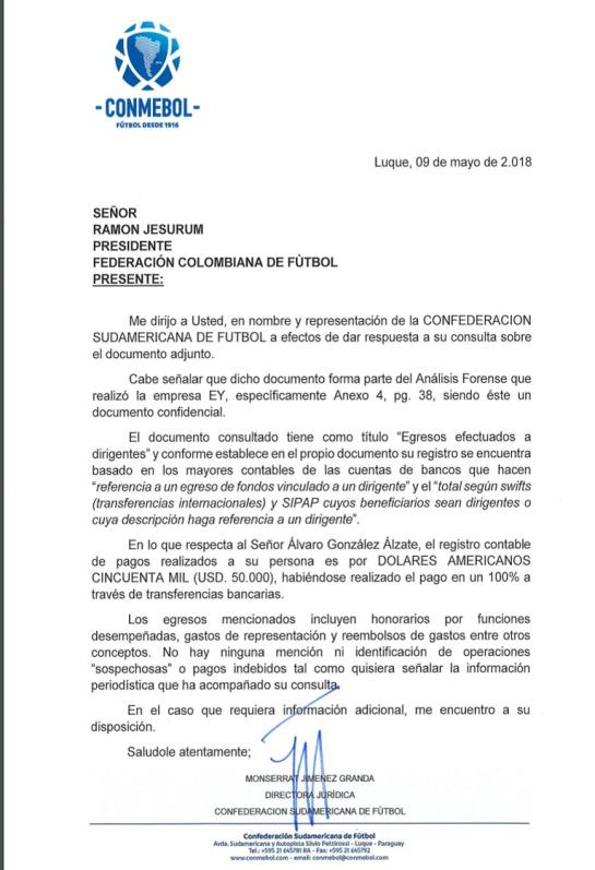 González Perdomo Conmebol: Conmebol asegura que dineros pagados a Álvaro González son legítimos