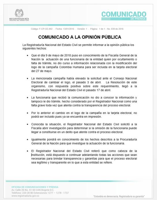 Tarjetón Logo Petro elecciones presidenciales 2018: Registraduría reconoce error en caso de logo de Colombia Humana en tarjetón