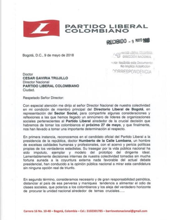 "Apoyo liberal a Humberto de la calle en Bogotá: ""Liberalismo en Bogotá está unido en torno a De La Calle"": D. Distrital"