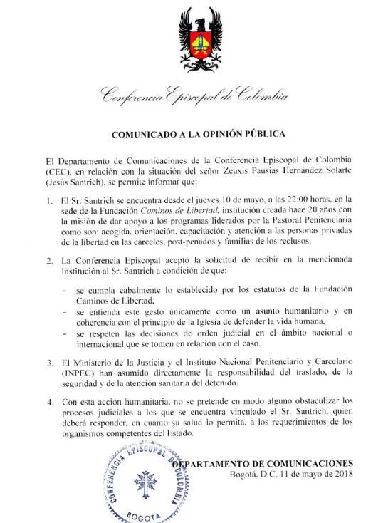 """Caso Santrich: """"No queremos obstaculizar los procesos judiciales de Santrich"""": Iglesia"""