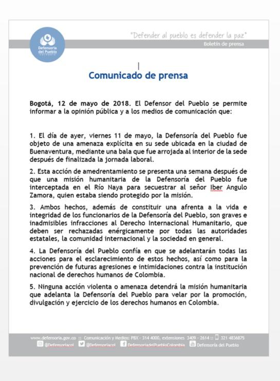 amenazas a defensoría del pueblo en el pácifico: Defensoría del Pueblo fue amenazada en Buenaventura: Carlos Negret
