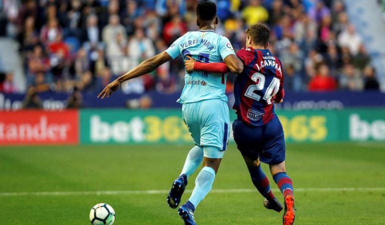 Yerry Mina Levante 5-4 Barcelona: Mina jugó los 90 minutos en la pérdida del invicto del Barcelona