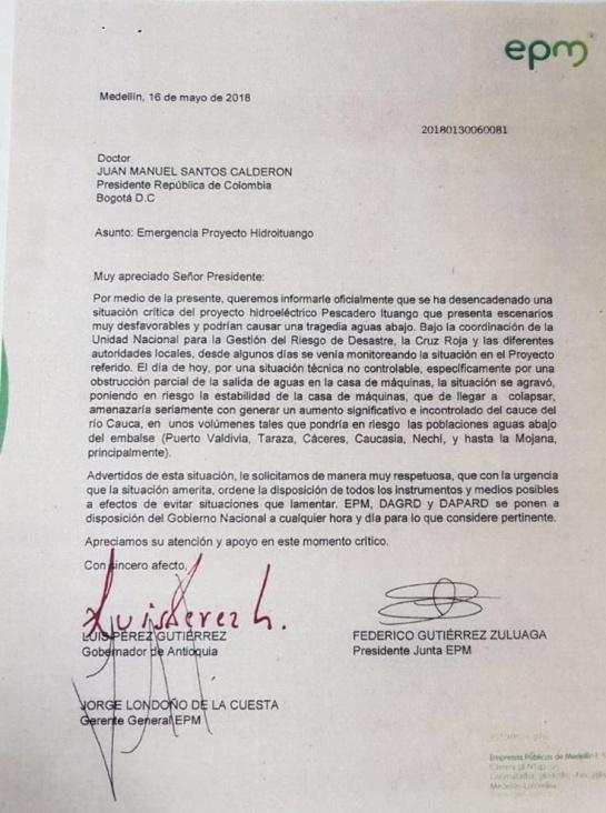 Hidroituango: Advierten a Santos que situación a Hidroituango llegaría a nivel crítico