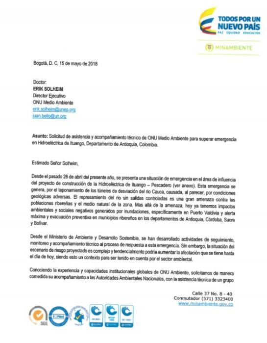 Hidroituango: Minambiente pide apoyo a la ONU tras emergencia en Hidroituango
