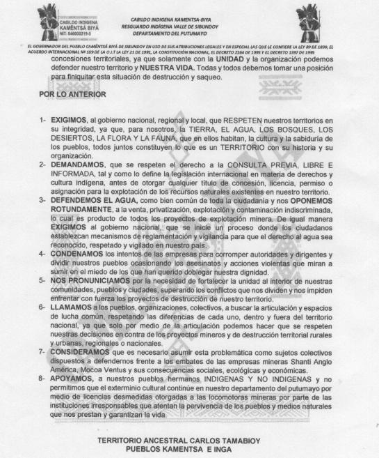Minería: Indígenas del Putumayo dicen NO a proyectos mineros