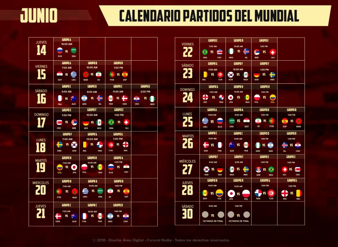 Horario Mundial 2018: Prográmese: ¡Llegó Junio, el mes del Mundial!