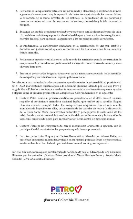 Petro Animalistas: Las organizaciones animalistas manifestaron su respaldo a Gustavo Petro