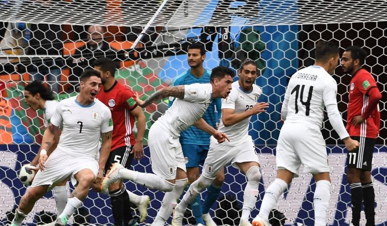 Mundial de Rusia 2018 Egipto Uruguay Mohamed Salah Luis Suárez: Giménez le da los 3 primeros puntos a Uruguay en Rusia 2018
