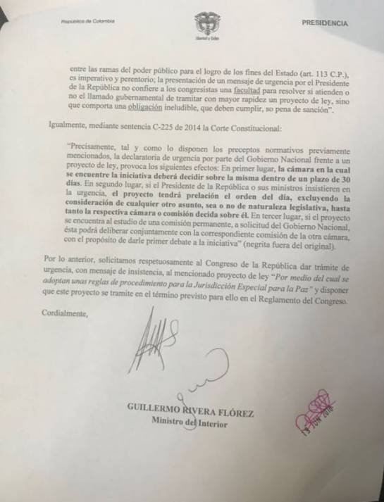 Ley de JEP aplazada: La JEP primer pulso entre Santos y Duque