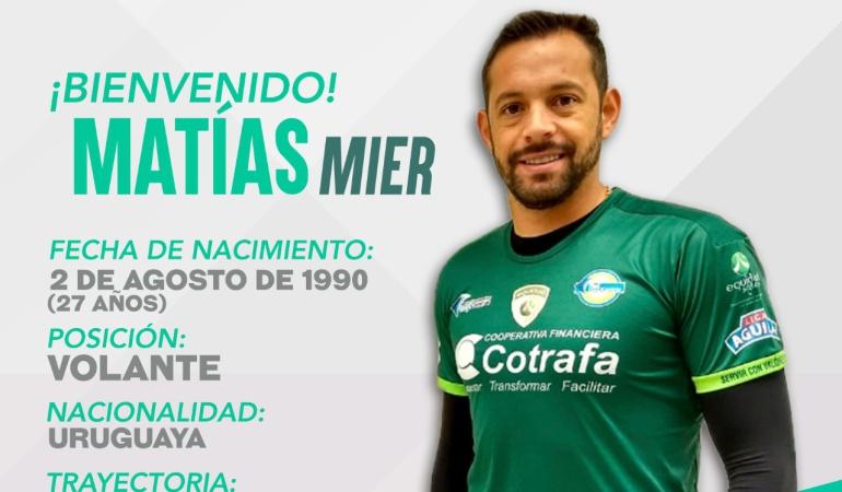 Matias Mier nuevo jugador de Equidad: Equidad confirmó a Matías Mier como su nuevo jugador