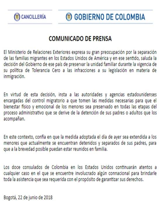 Inmigrantes Fronterizos: Gobierno colombiano pide a EE.UU. reunir familias separadas en la frontera