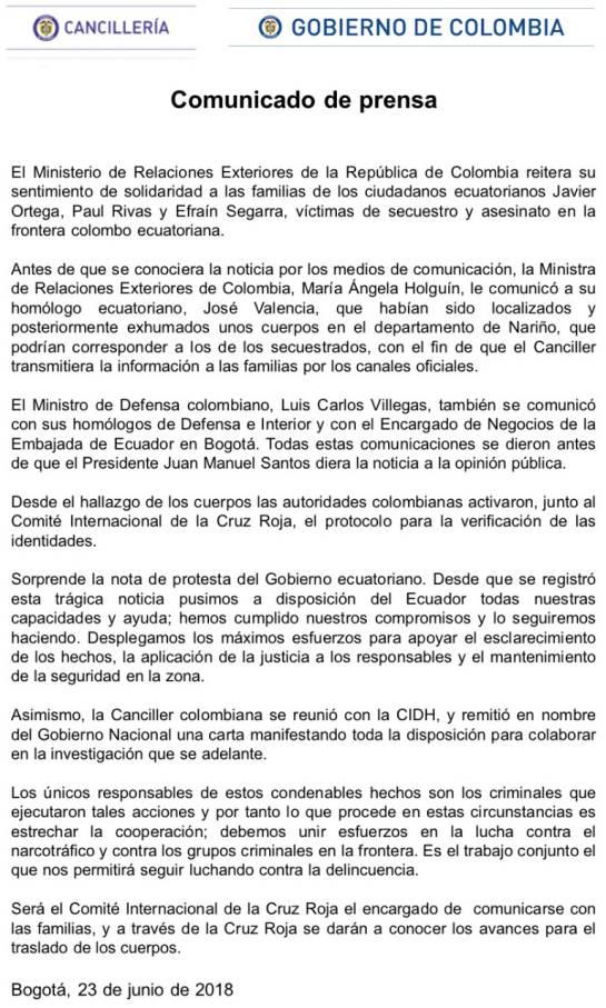 "Muerte de periodistas ecuatorianos: Colombia ""sorprendida"" por nota de protesta de Ecuador"