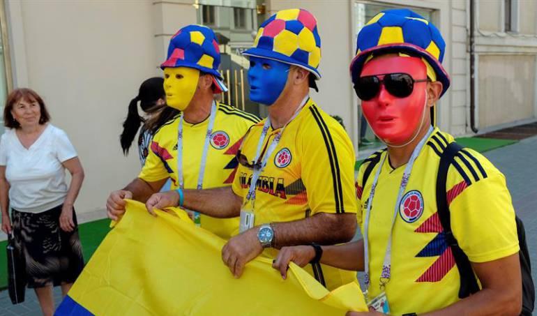 Hinchas de Colombia en Rusia.
