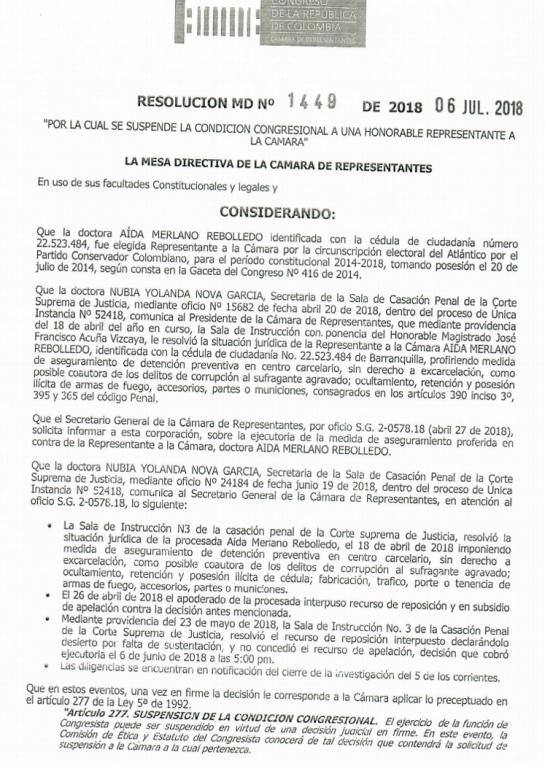 Corrupción política: Cámara de Representantes suspendió a Aida Merlano