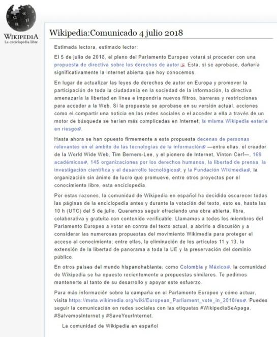 ¿Qué pasa con wikipedia?: Wikipedia en español, italiano y polaco, apagadas en protesta contra la UE